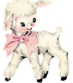 Ribonetta clipart png royalty free Cute lamb illustration | Oldies greetings | Vintage nursery ... png royalty free