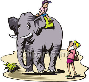Riding an elephant clipart clipart download Tourists Taking an Elephant Ride - Royalty Free Clipart Picture clipart download
