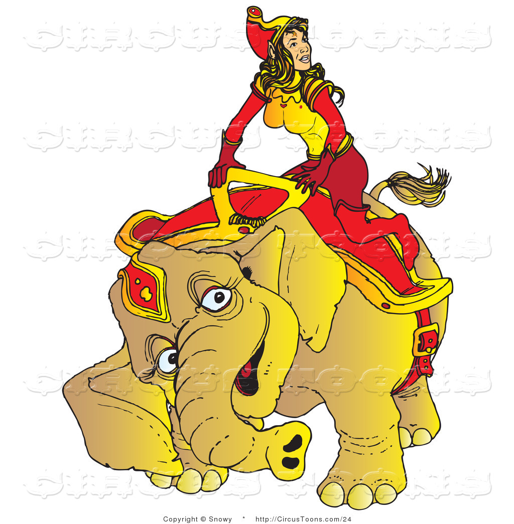 Riding an elephant clipart freeuse library Circus Vector Clipart of a Lady Riding an Elephant by Snowy ... freeuse library