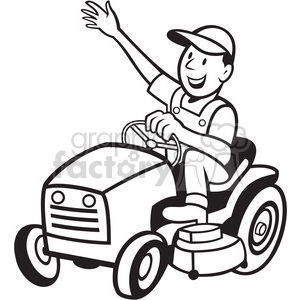 Riding lawn mower black and white with clipart vector royalty free download black and white farmer riding tractor mower clipart. Royalty-free clipart #  387886 vector royalty free download