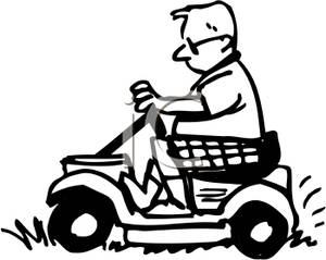 Riding lawn mower black and white with clipart clip Black and White Man On A Riding Lawnmower - Royalty Free ... clip