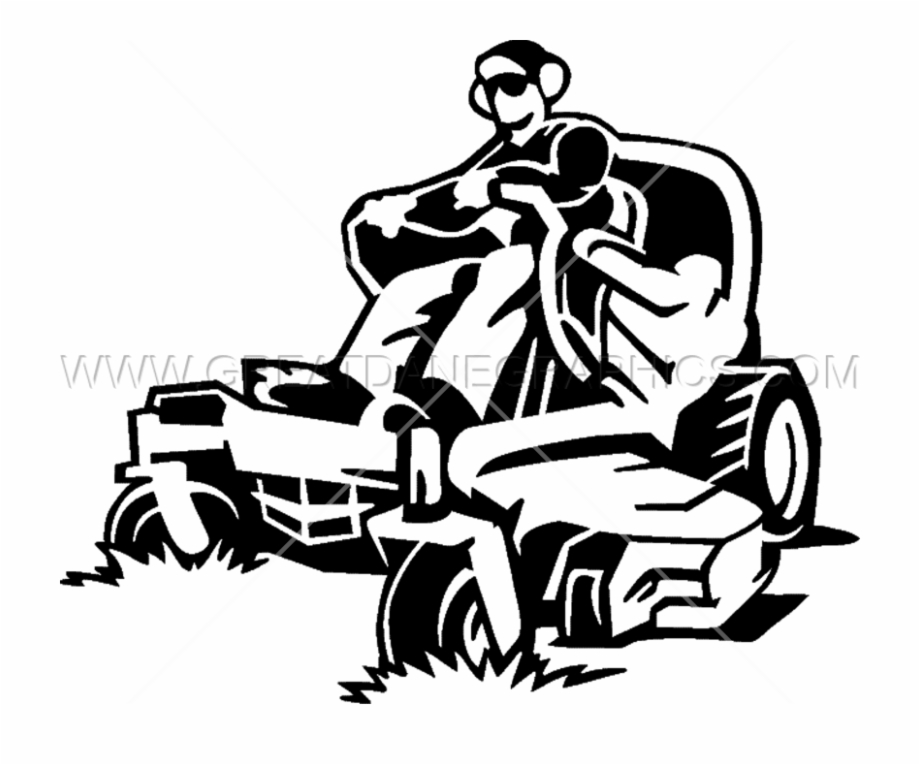 Riding lawn mower clipart black and white picture download Man Lawn Mowing - Man On Lawn Mower Clipart Free PNG Images ... picture download