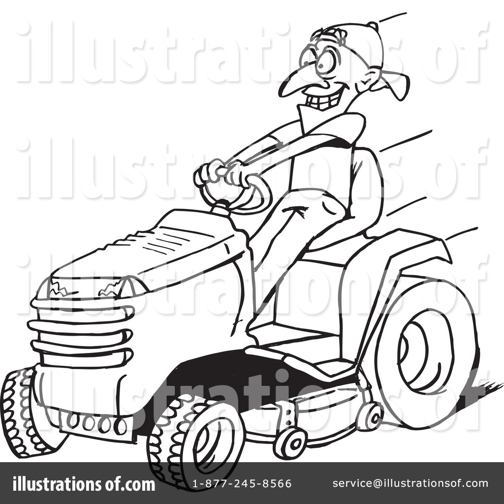 Riding lawn mower clipart black and white clip art black and white download Lawn Mower Clipart #1110508 - Illustration by Dennis Holmes ... clip art black and white download