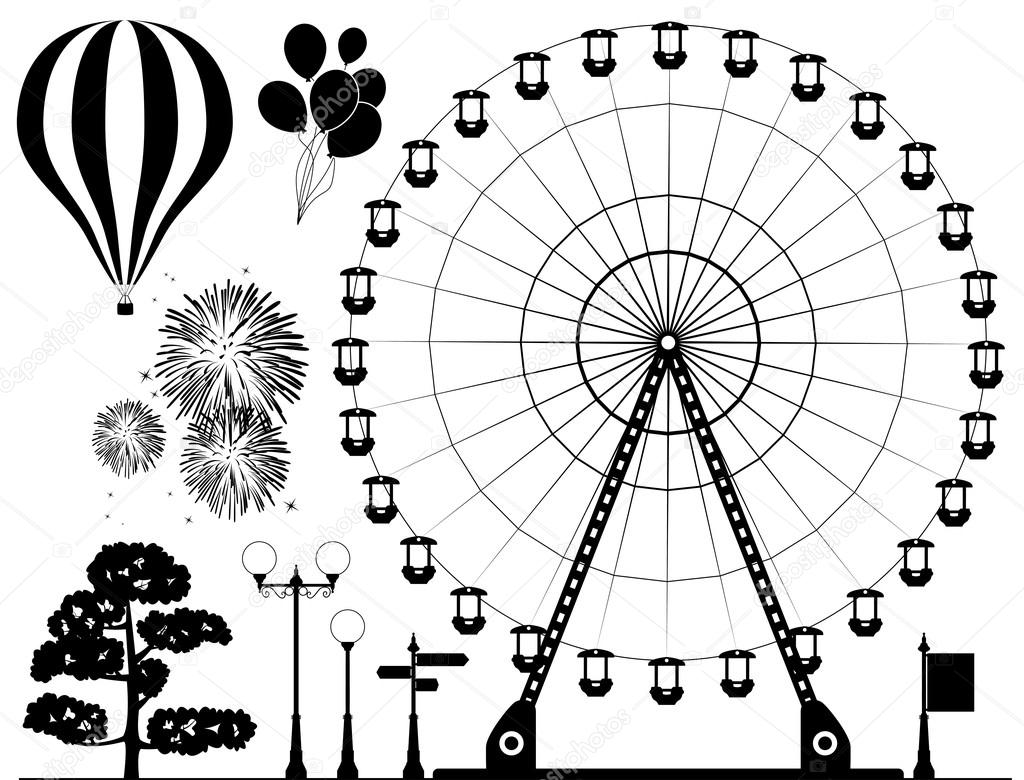 Riesenrad clipart kostenlos png royalty free Vektorelemente der Freizeitpark — Stockvektor © dmstudio #18247941 png royalty free