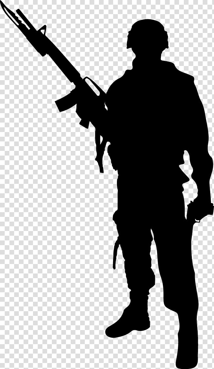 Rifle shooting sihouette standing clipart jpg black and white download Of man holding rifle stencil illustration, Soldier ... jpg black and white download