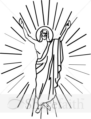 Risen christ clipart vector royalty free Line Drawn Risen Christ in Halo   Jesus Clipart vector royalty free