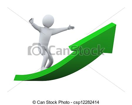Rising arrow clipart banner freeuse download Clipart of 3d man surfing on arrow - 3d illustration of person ... banner freeuse download