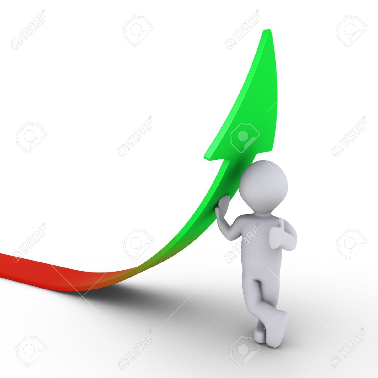 Rising arrow clipart graphic royalty free stock 3d Person Leaning On A Rising Graph Arrow Stock Photo, Picture And ... graphic royalty free stock