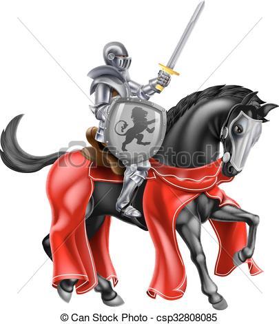 Ritter auf pferd clipart clip library Vektor von ritter, Pferd - a, ritter, Besitz, a, Schwert, und ... clip library