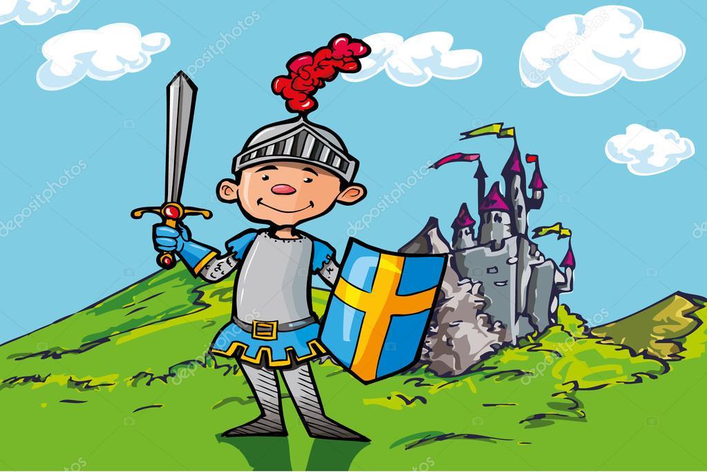 Ritter und burgen clipart png library stock Cartoon junge Ritter vor einer Burg — Stockvektor © antonbrand ... png library stock