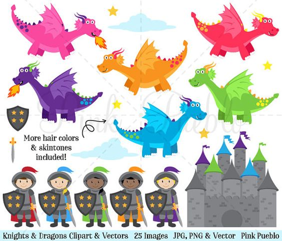 Ritter und burgen clipart png stock Knights and Dragons Clipart Knight Clipart Dragon by PinkPueblo ... png stock