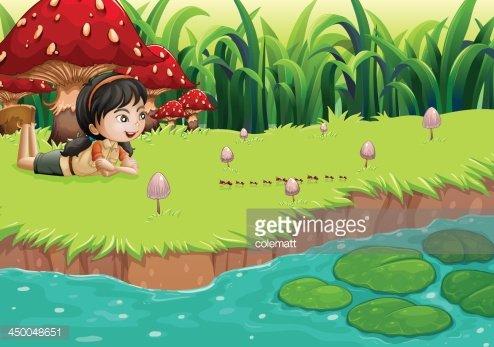 Rivebank clipart image free stock Girl AT The Riverbank Near Red Mushrooms premium clipart ... image free stock