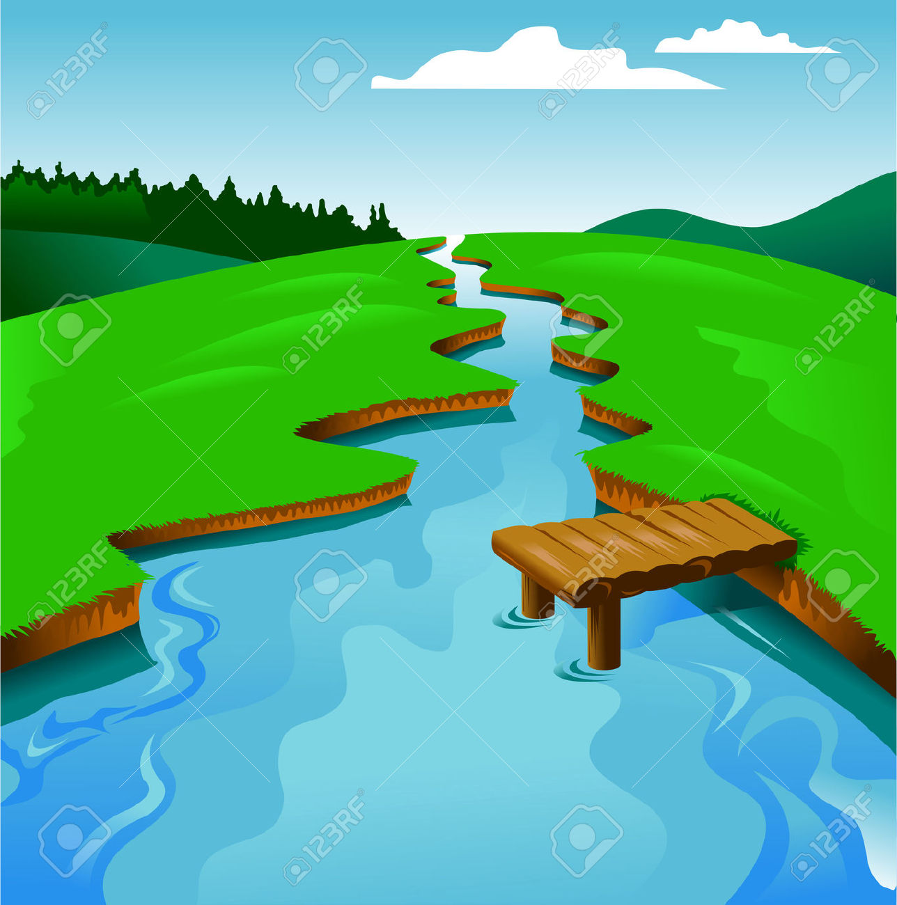 River background clipart clipart freeuse Blue River On A Background Of Green Landscape, Vector And ... clipart freeuse