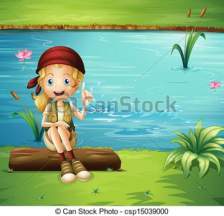 River bank clipart vector freeuse download Vector Clipart of A girl sitting above a log at the riverbank ... vector freeuse download