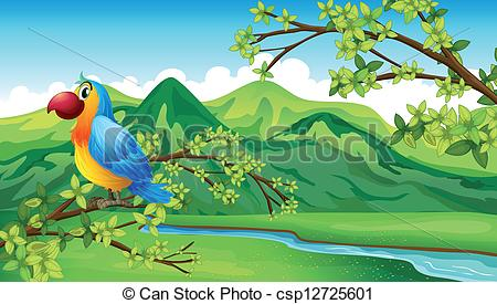 River bank clipart clip transparent Vector Clipart of A parrot near the riverbank - Illustration of a ... clip transparent