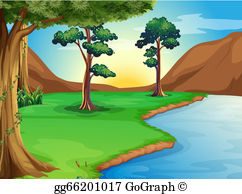 River bank clipart banner transparent EPS Illustration - A hut at the riverbank. Vector Clipart ... banner transparent