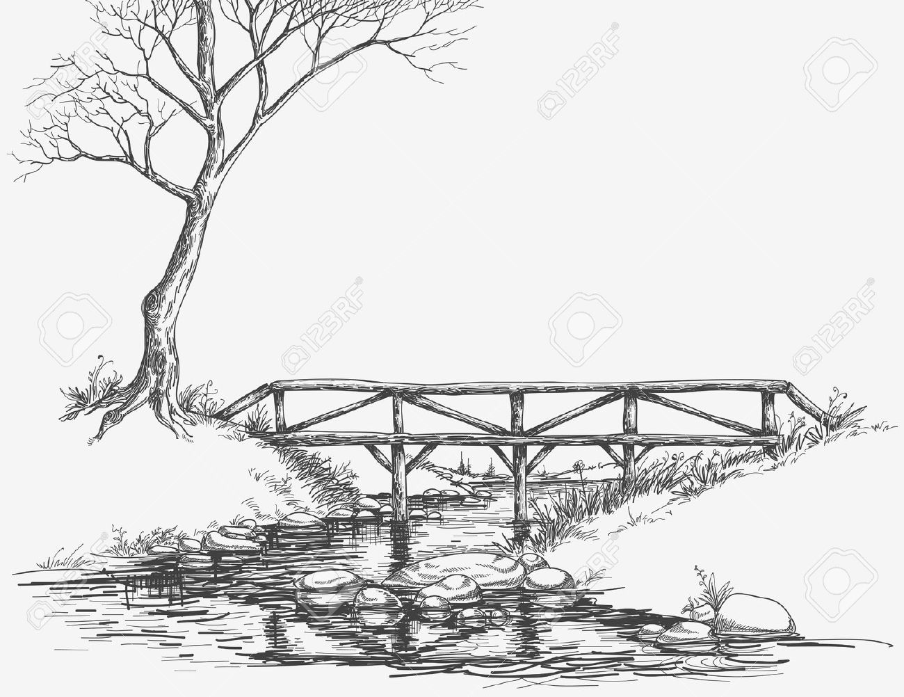 River bank clipart black and white clipart library library Bridge over river clipart black and white - ClipartFest clipart library library