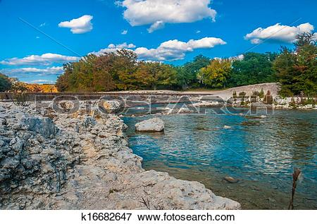 River bank state park logo clipart picture black and white stock Picture of Garner State Park - Frio River Dam k16682647 - Search ... picture black and white stock
