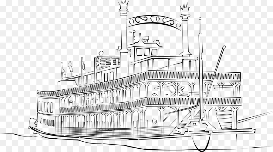 River boat with a paddle wheel clipart