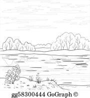 River clipart outline clip royalty free Clip Art - Landscape. forest river, outline. Stock Illustration ... clip royalty free