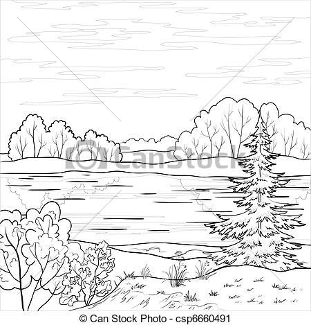 River clipart outline clip transparent library Vector Clip Art of Landscape. Forest river, outline - Vector ... clip transparent library