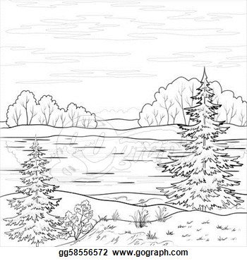 River clipart outline transparent stock Black And White Nature Clipart - Clipart Kid transparent stock