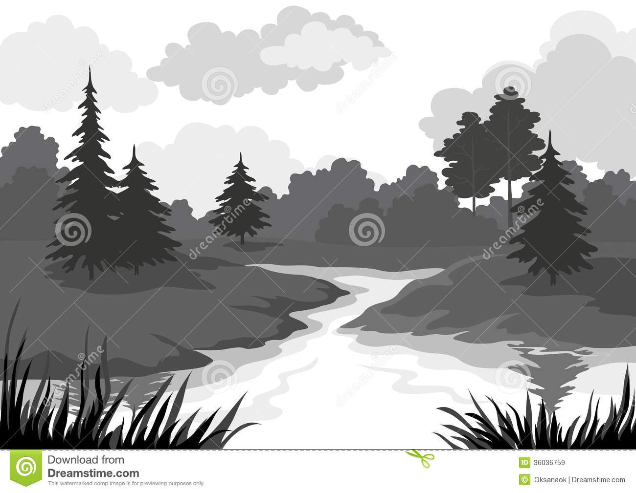 River clipart outline svg freeuse library Landscape Forest River Outline Stock Photos, Images, & Pictures ... svg freeuse library