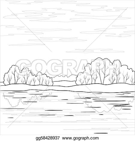 River clipart outline vector library library Clip Art Vector - Landscape. forest river, outline. Stock EPS ... vector library library