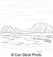 River clipart outline picture library stock Clip Art Vector of Landscape. Forest river, outline - Vector ... picture library stock