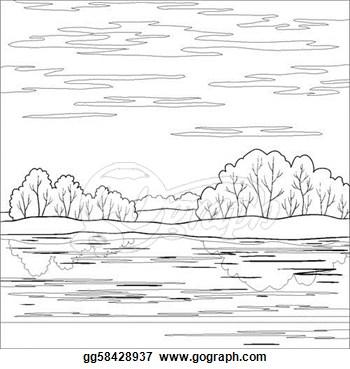 River clipart outline clip art freeuse download Clip Art Vector Landscape Forest River Outline Stock Eps #y4mN4K ... clip art freeuse download