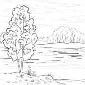 River clipart outline graphic transparent library Clip Art of Landscape. Forest river, outline k7028206 - Search ... graphic transparent library