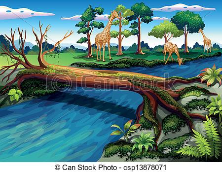 River flow clipart clipart freeuse download Vectors Illustration of A flowing river at the forest ... clipart freeuse download