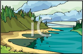 River flow clipart clip royalty free Picture of a River Flowing Through the Mountains In a Vector Clip ... clip royalty free