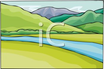 River flow clipart clip art free download Picture of a River Flowing Surrounded By Hills and Grass In a ... clip art free download