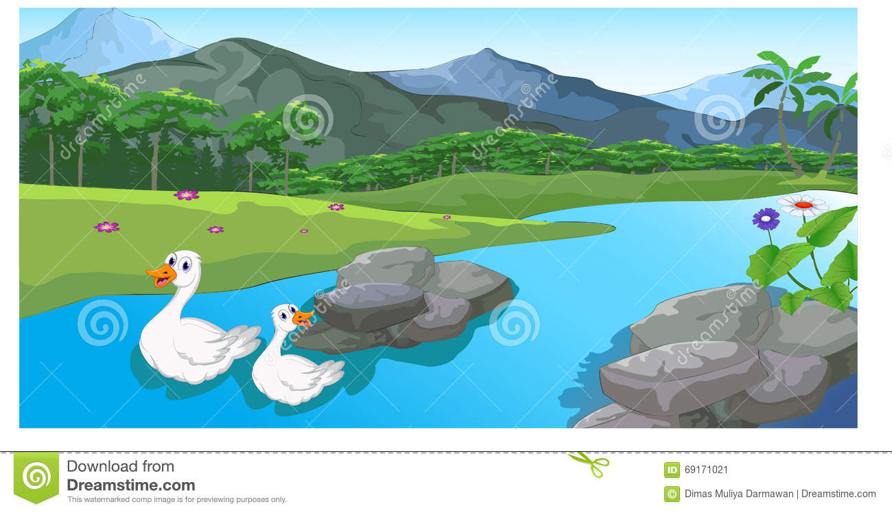 River flow clipart image freeuse Duck Cartoon River Flowing By A Peaceful Town Stock Illustration ... image freeuse