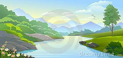 River flow clipart png black and white download Man Rowing His Small Boat By A Mountain River Royalty Free Stock ... png black and white download