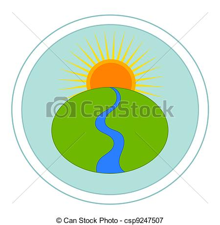 River logo clipart picture black and white download Vectors Illustration of Landscape with river and sun - vector ... picture black and white download