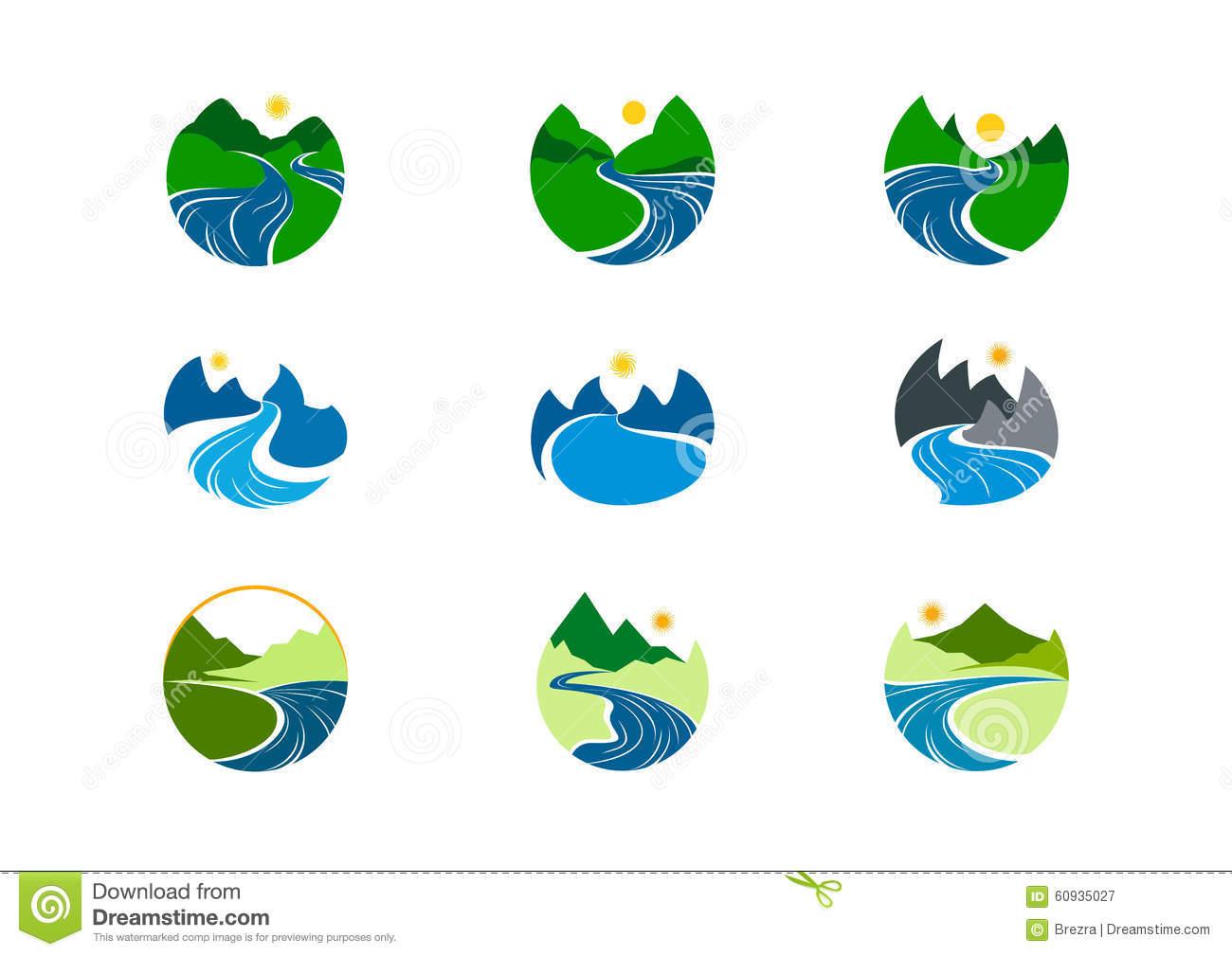 River logo clipart freeuse download River Logo, Nature Mountain Symbol Design Stock Vector - Image ... freeuse download