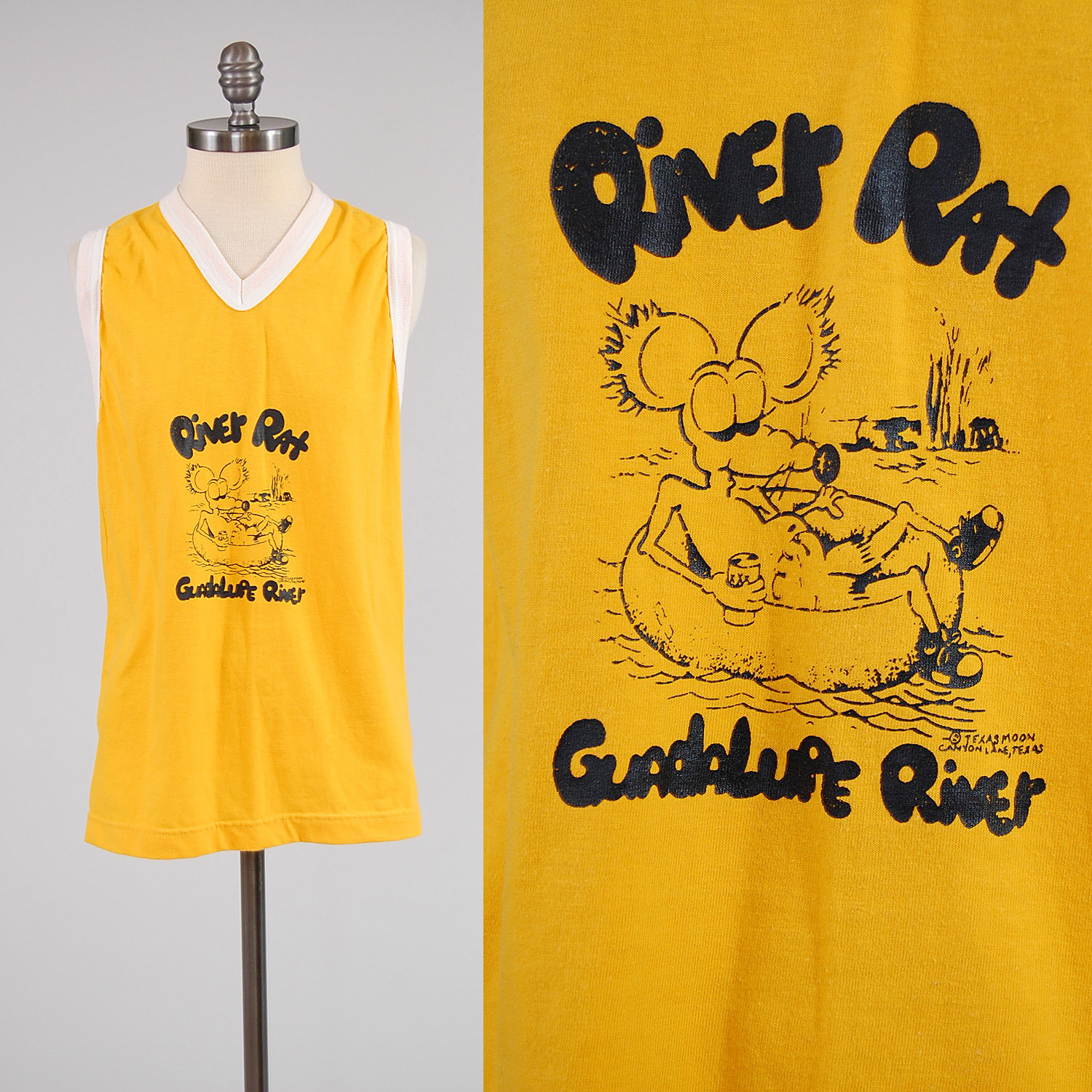 River rat clipart free stock Vintage 70s Texas River Rat ringer t shirt / Guadalupe River free stock