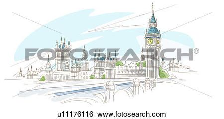 River thames clipart clip art stock Stock Illustration of Bridge in front of a clock tower, Big Ben ... clip art stock