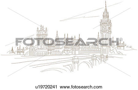 River thames clipart svg free library Clipart of Bridge in front of a clock tower, Big Ben, Westminster ... svg free library
