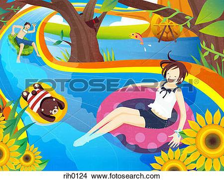River tubing clipart graphic royalty free stock Drawings of Illustration of two people and a teddy bear tubing ... graphic royalty free stock