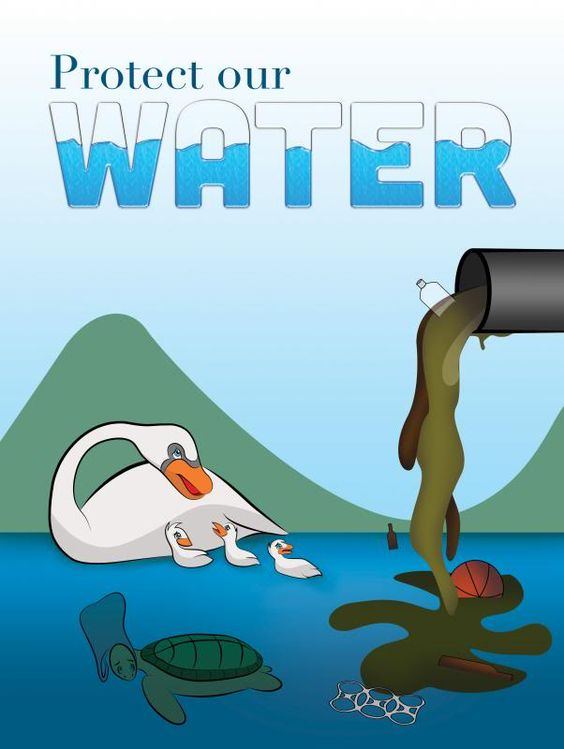 River water clipart video clip royalty free download Poster: This poster shows aquatic lives threatened by water ... clip royalty free download