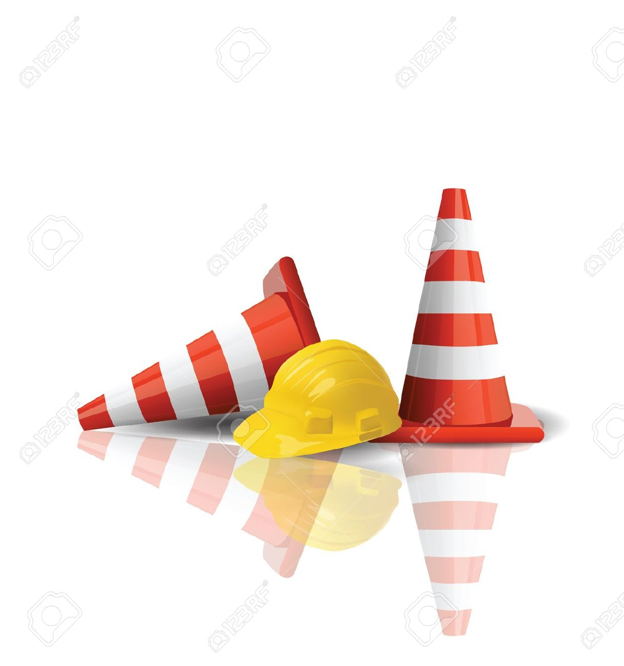 Road construction site clipart svg Hard Cap With Traffic Cones Isolated Royalty Free Cliparts ... svg