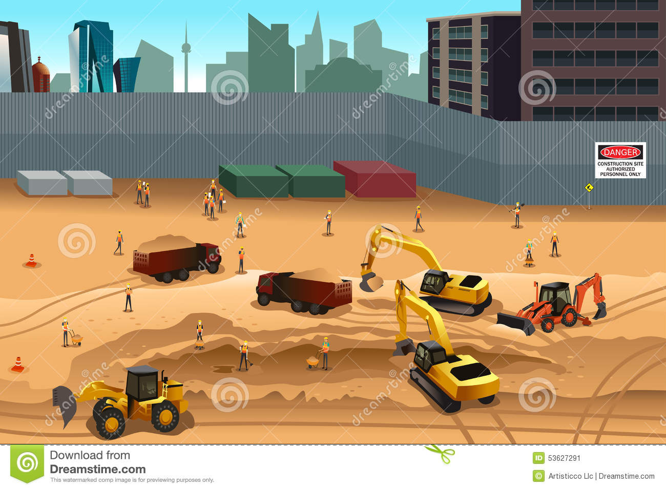 Road construction site clipart svg library stock Scene In A Construction Site Stock Vector - Image: 53627291 svg library stock