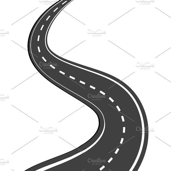 Windy path clipart transparent background banner black and white stock Winding road Graphics Winding asphalt road with markings ... banner black and white stock