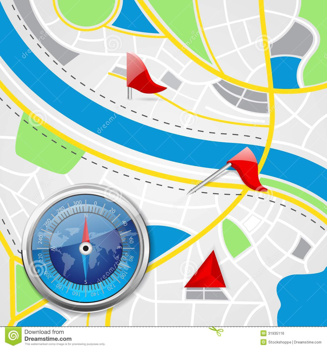Road map clipart free transparent library Compass On Road Map Royalty Free Stock Image - Image: 31935116 transparent library