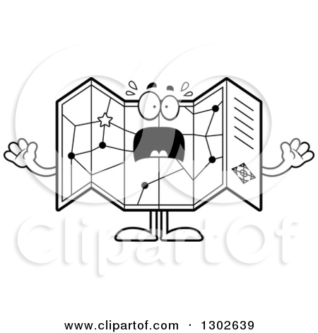 Road map clipart outline banner black and white stock Lineart Clipart of a Cartoon Black and White Scared Road Map Atlas ... banner black and white stock