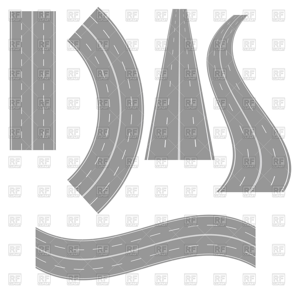 Road s clipart graphic black and white download Different shapes roads Vector Image #63735 – RFclipart graphic black and white download