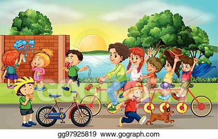 Road scene clipart freeuse stock Vector Illustration - Road scene with kids and family riding ... freeuse stock